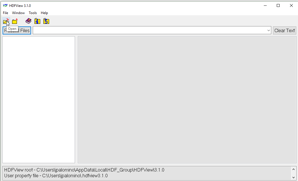 Location of the open file option in the HDF View interface.