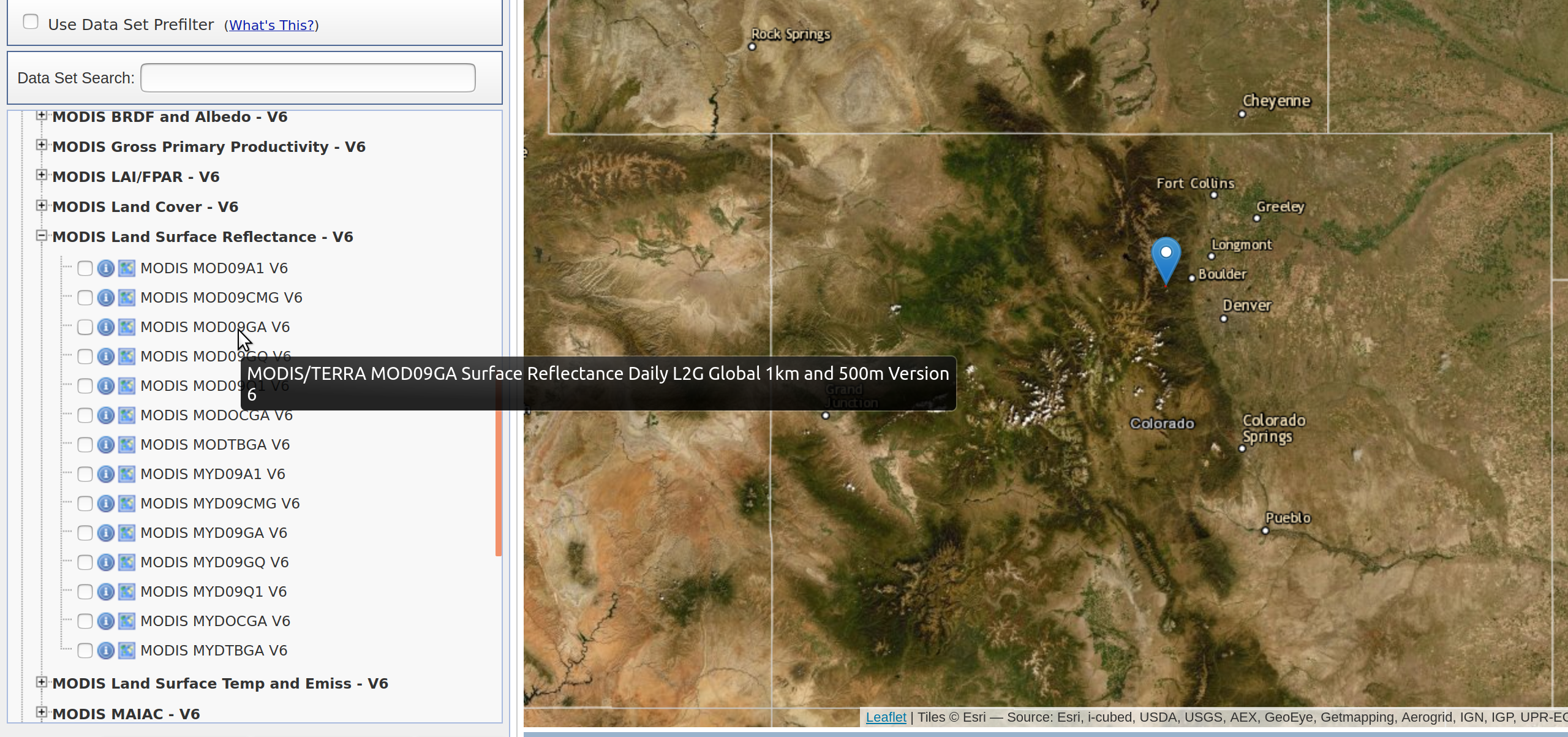 Hover text for MODIS data.