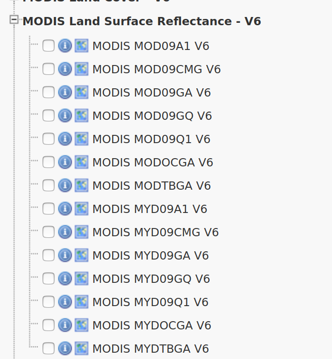 List of surfance reflectance products from MODIS available on EarthExplorer