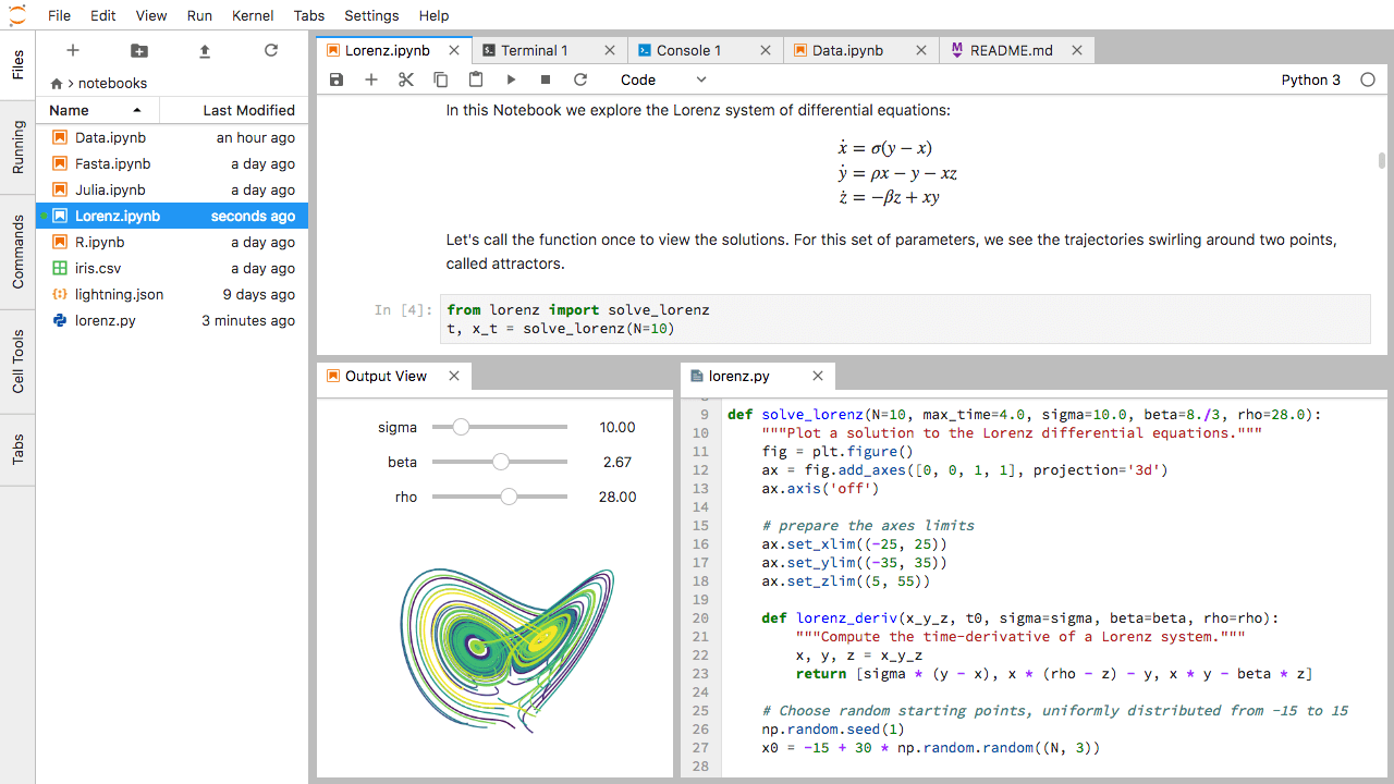 Jupyter Lab is a free interactive development environment (IDE) for Python that allows you to run code interactively and work with multiple files, including Jupyter Notebook files, on your computer at one time.