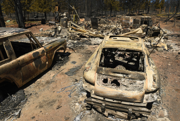 Burned cars in Nederland, Colorado after the Cold Springs fire.