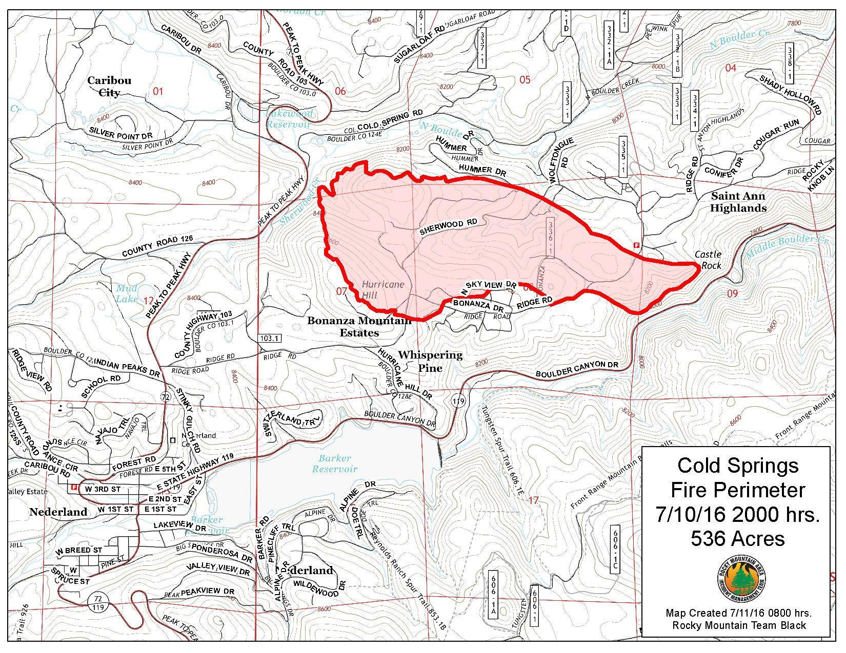 Map of the extent of the Cold Springs fire near Nederland, Colorado.