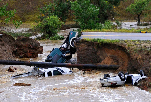 Vehicles destroyed by Colorado floods