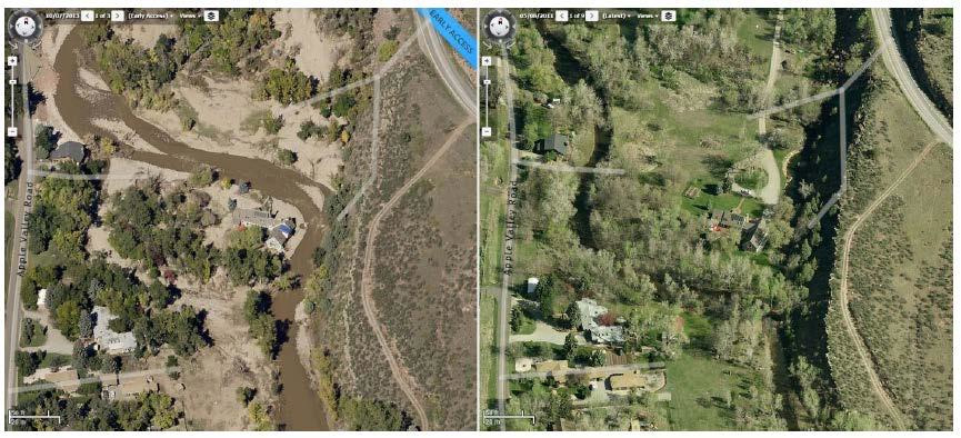The St. Vrain River before and after the Colorado floods