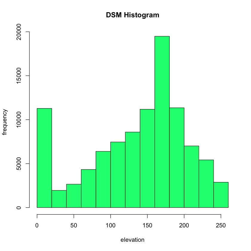 DSM histogram and plot