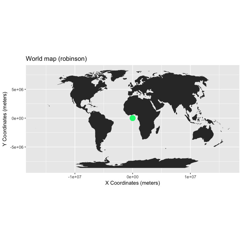 map with point locations added - robinson projection.
