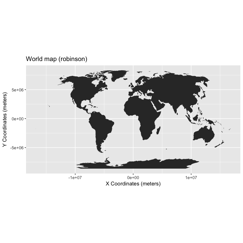 Map reprojected to robinson projection.