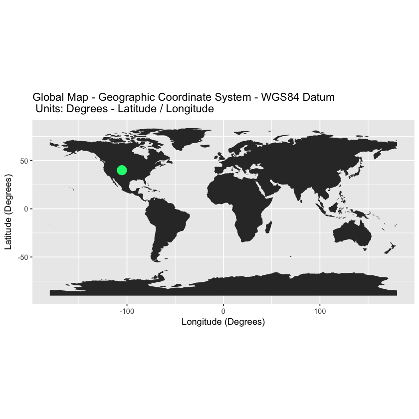 global map in wgs84 with points