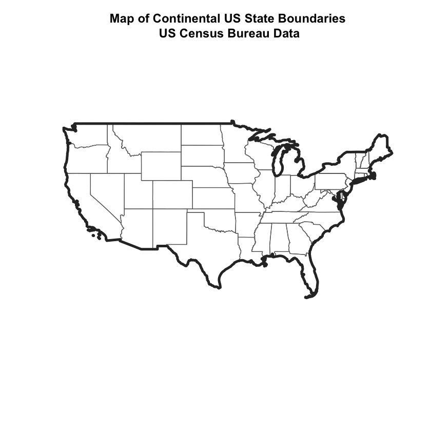 Plot of the US overlayed with states and a boundary.
