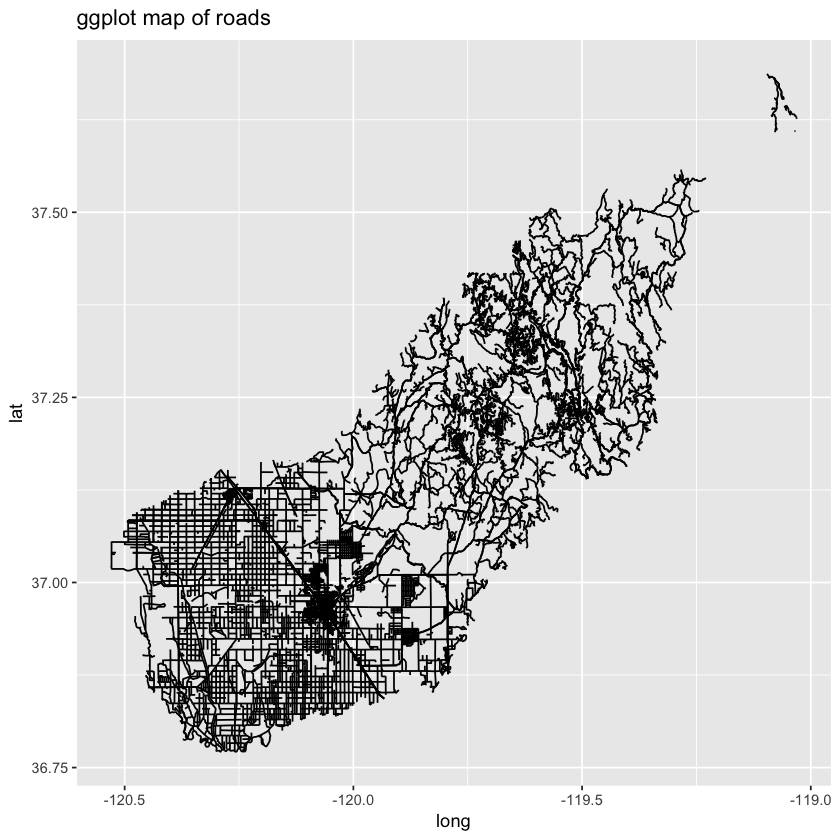 Basic ggplot of roads.