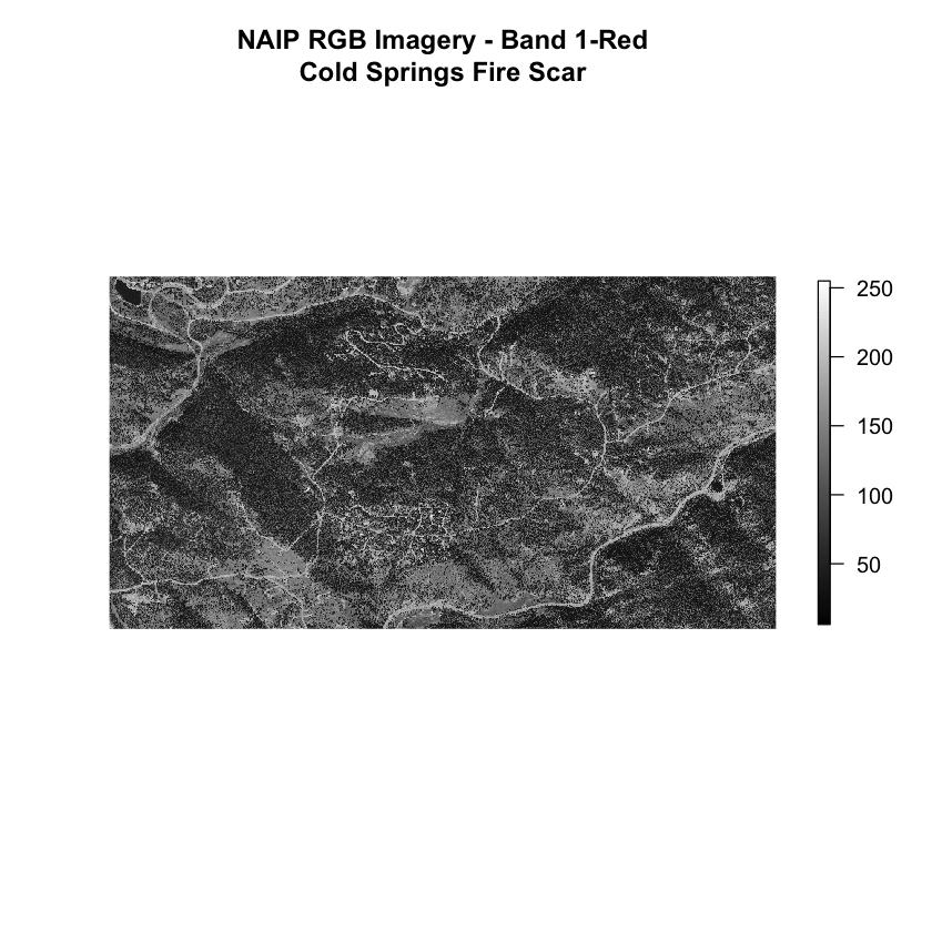 NAIP imagery single band plot.