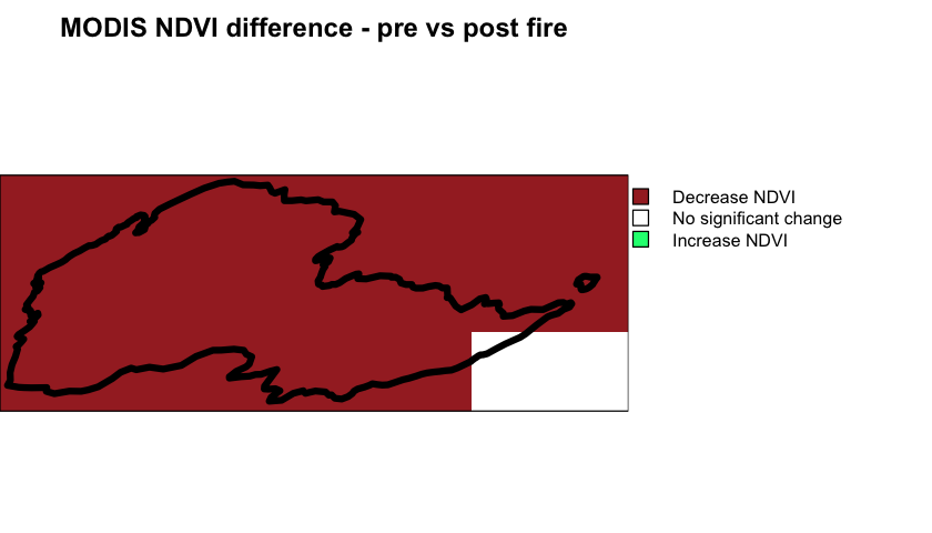 MODIS NDVI difference Cold Springs Fire