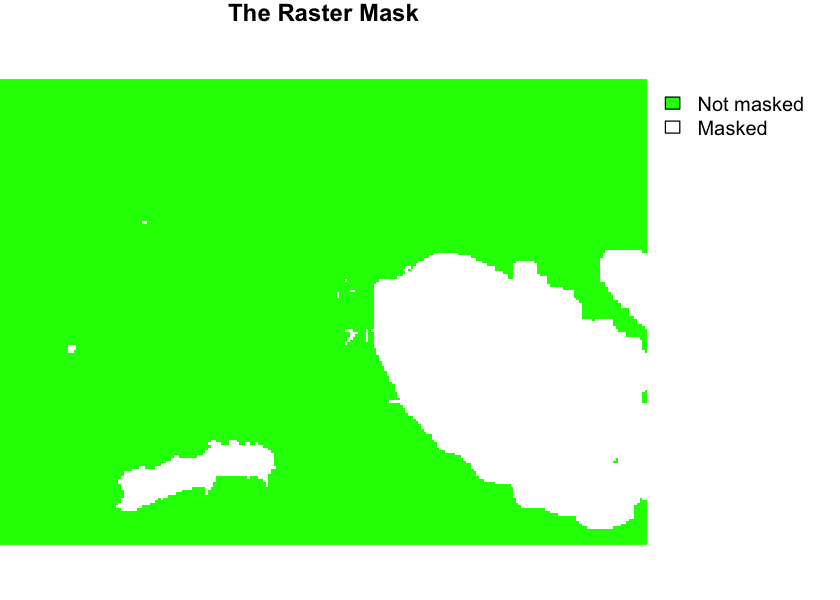 raster mask. green values are not masked.