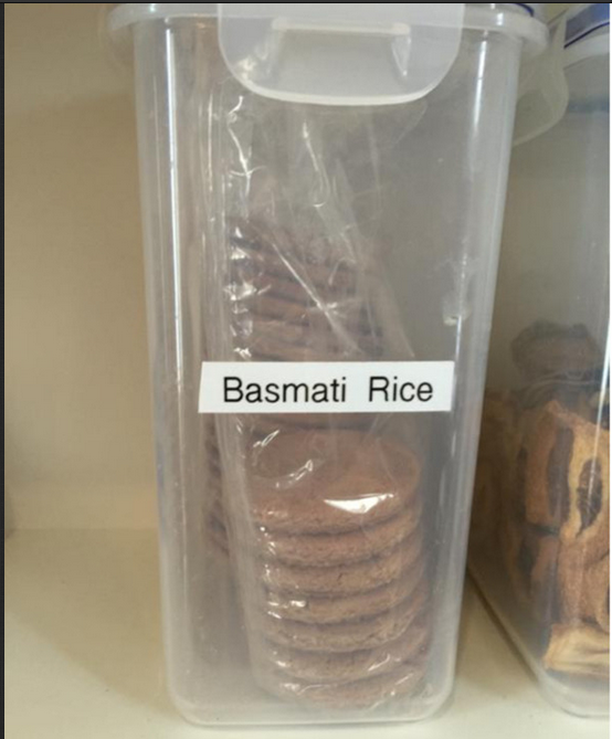basmati rice label on cookie container.